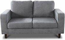 Sofa Kera 2-Sitzer - Velours Stoff, Holzfüße,