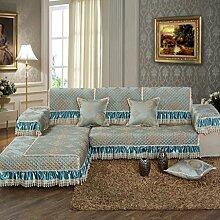 Sofa Kissen bestickt Satin Tuch Vier Jahreszeiten Anti-Rutsch-Sofa Handtuch Kissen ( größe : 90*110cm )