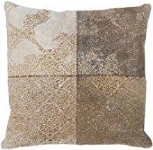 Sofa-Kissen Dekokissen modern Design Couch Cobra Pillow 343 Patchwork Muster Leder 45x45 cm Beige/ Zierkissen günstig online kaufen