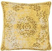 Sofa-Kissen Dekokissen modern Design Couch Nostalgia Pillow 385 Blumen Muster Baumwollmischung 45x45 cm Gold/ Zierkissen günstig online kaufen
