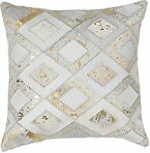 Sofa-Kissen Dekokissen modern Design Couch Spark Pillow 110 Rauten Muster Leder 45x45 cm Beige/ Zierkissen günstig online kaufen