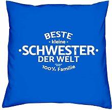 Sofa Kissen mit Füllung Beste kleine Schwester der Welt Größe 40x40 cm und Urkunde Weihnachtsgeschenk für Mädchen und Frauen Farbe: royal-blau