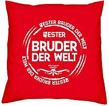 Sofa Kissen mit Füllung Bester Bruder der Welt Größe 40x40 cm und Urkunde Weihnachtsgeschenk Jungen Männer Farbe: ro
