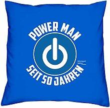 Sofa Kissen mit Füllung Größe: 40x40 cm Geburtstagsgeschenk für Männer Ihn Geschenk zum 50. Geburtstag Power Man seit 50 Jahren Farbe: royal-blau