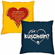 Sofa Kissen mit Füllung Ich Liebe Dich in gelb
