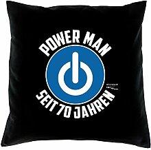Sofa Kissen mit Füllung Kissengröße: 40x40 cm Geburtstagsgeschenk für Männer Ihn Geschenk zum 70. Geburtstag Power Man seit 70 Jahren Farbe: schwarz