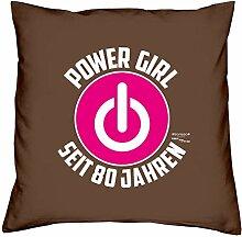 Sofa Kissen mit Füllung Kissengröße: 40x40 cm Geburtstagsgeschenk für Frauen Sie Powergirl Geschenk zum 80. Geburtstag Power Girl seit 80 Jahren Farbe: braun