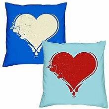 Sofa Kissen mit Füllung Love Herz in royal-blau