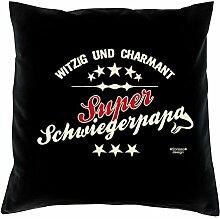 Sofa Kissen mit Füllung Super Schwiegerpapa Größe 40x40 cm und Urkunde Weihnachtsgeschenk Männer Farbe: schwarz