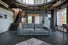 Sofa Ledersofa GIGANT 3,5 Sitzer inkl. Hocker und
