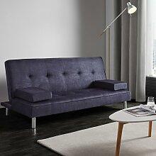 Sofa mit Schlaffunktion in Grau/Blau