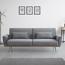 Sofa mit Schlaffunktion in Grau mit Holzrahmen