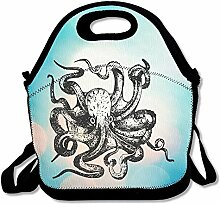 Sofa Octopus Lunch Tote Bag Lunch Box Neoprene