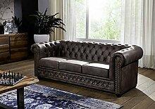 Sofa OXFORD Antik-Look Vintage dunkelbraun Chesterfield