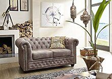 Sofa OXFORD Chesterfield Antik-Look silber Vintage