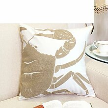 Sofa Pillow Cushion Covers,Cotton Embroidery Back Pad,Pillow-B 45x45cm(18x18inch)VersionA