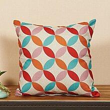 Sofa Pillow,Office Nap Cushion Car Waist Cushion,Geometric Decoration Cotton Linen Pillow Cover-K 45x45cm(18x18inch)VersionA