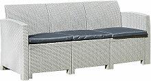 Sofa Rattan Grau 3-Sitzer Kissen Grau Möbel für
