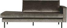 Sofa Recamiere in Taupe Samtbezug Retro Style