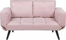 Sofa Rosa Polsterbezug 2-Sitzer Schlaffunktion
