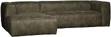 Sofa Rundecke in Olivgrün Recyclingleder 305 cm