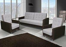 Sofa-Set Aurea in braun und weiß mit Staukasten und Bettfunktion inkl 2 Sessel