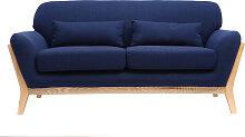 Sofa skandinavisch 2 Plätze Dunkelblau Holzbeine