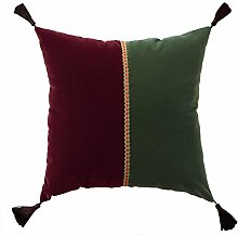 Sofa Type Pillow,Pure Cotton Pure Velvet Cushion,Sets Of Tassel Waist Pillow-B 45x45cm(18x18inch)VersionB