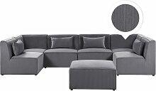 Sofa U-Form mit Ottomane Grau Polsterbezug aus