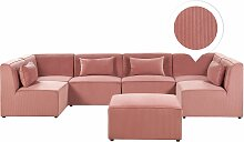 Sofa U-Form mit Ottomane Rosa Polsterbezug aus