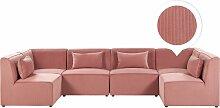 Sofa U-Form Rosa Polsterbezug aus Cord mit