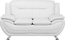 Sofa Weiß Kunstleder 2-Sitzer Traditionell