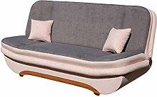 Sofa Weronika Style mit Bettkasten und Schlaffunktion, Couch vom Hersteller, Microfaser, Schlafcouch, Schlafsofa, Wohnlandschaft (Alova 07 + Alova 68)