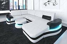 Sofa Wohnlandschaft Modena in Leder auch mit LED