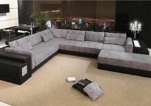 Sofa Wohnlandschaft U-Form Leder + Stoff HANNOVER