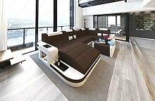 Sofa Wohnlandschaft Wave U Form mit Stoffbezug und