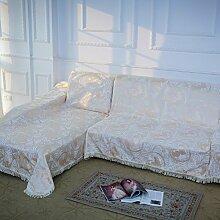 Sofabezug,1,2,3,4-sitzer, Volle deckung verdickung anti-rutsch sofa nordischen stil fringe mit spitze stylish und einfach-beige three seats 180x320cm(71x126inch)