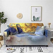 Sofabezug Orangeblaues Plaid Sofa überzug Stretch