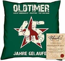 Sofakissen Dekokissen Geschenk für Männer zum 45 Geburtstag Motiv Oldtimer 45 Geburtstagsgeschenk + Urkunde Farbe:dunkelgrün
