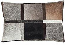 Sofakissen Kopfkissen Dekokissen Couch- oder Palettenkissen Lounge Rückenkissen Design Lavish Pillow 410 Grau 100% Leder 40x60cm | Teppiche günstig online kaufen