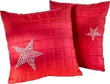 Sofaläufer Sterne, rot (2-Sitzer-Sofa 181/116 cm)