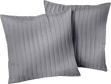 Sofaüberwurf Streifen, grau (Sessel mit Armlehnen 181/166 cm)