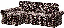 Soferia - IKEA BACKABRO 2er-Sofa mit Recamiere Bezug, City Black