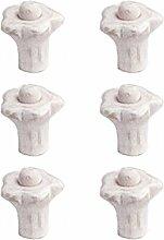 sofoc 9972459Blume 6Knöpfe Tür- und Schublade, Möbelgriff Kunststoff/Holz/Nylon Harz/Acryl 2,5x 2,5x 2,2cm, Bois blanc, 2,6 x 2,6 x 2,5 cm