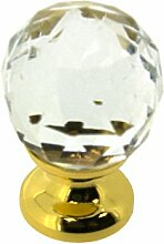 sofoc a875167Kugel Diamant Knopf Tür- und Schublade, Möbelgriff Design Glaskristall facettiert Messing/Glas/Porzellan/Keramik Weiß und Transparent 4,1x 2,5x 2,5cm