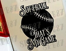 Softball That 's My Game Ball Game Sport Baseball Hobby Funny Car Bumper Window Funny Vinyl Van Laptop Love Herz Decor Home Live Kids Funny Art Wand Aufkleber Aufkleber Motorräder