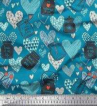 Soimoi Blau Baumwolle Ente Stoff Text, Glas & Herz