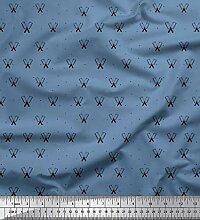 Soimoi Blau Kreppseide Stoff dot & Fleischermesser