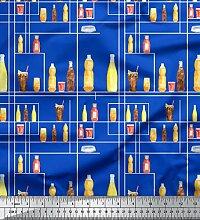 Soimoi Blau strahlkrepp Stoff Flasche und Glas
