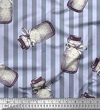 Soimoi Blau strahlkrepp Stoff Streifen & Glas
